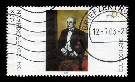 printmaker: GERMANY - CIRCA 2003: A stamp printed in Germany shows Junger Argentinier painting by Max Beckmann, circa 2003