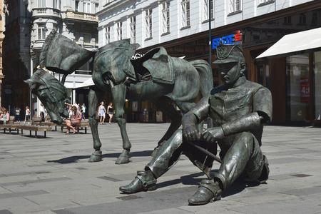 solider: VIENNA, AUSTRIA - September 01: temporary installation  Monumental Break  by the french artist Julien Berthier at Graben street in Vienna, Austria on september 01, 2015
