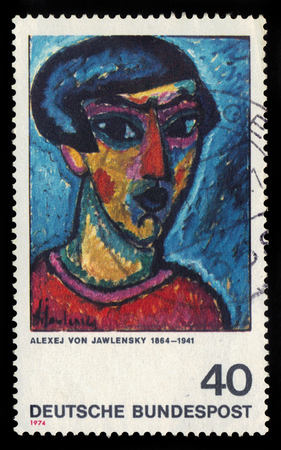expressionist: GERMANY - CIRCA 1974: postage stamp printed in Germany, shows head in blue, painting by Alexej von Jawlensky, russian expressionist, circa 1974