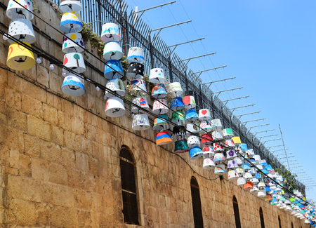 lampshades: children from the various quarters of Jerusalems Old City come together to create a joint display of lampshades for festival Light of Jerusalem