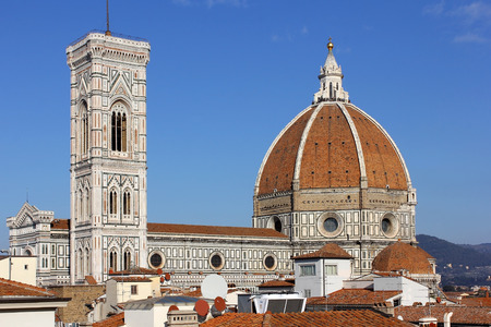 the tuscany: cathedral Santa Maria del Fiore Duomo and giottos bell tower campanile, Florence, Tuscany, Italy Stock Photo