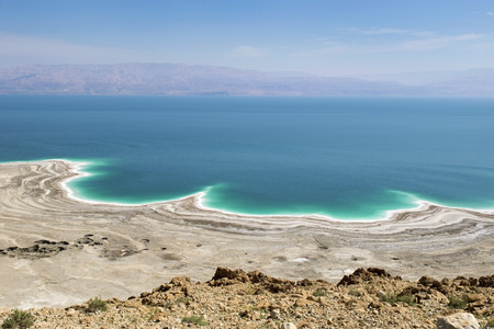 catastrophe: landscape of the Dead Sea, failures of the soil and the strong shallowing of the sea, illustrating an environmental catastrophe on the Dead Sea, Israel Stock Photo