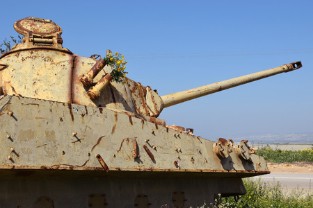 israel war: old jordanian destroyed tank left over from the Six Day War in Israel