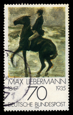 printmaker: GERMANY - CIRCA 1978: a stamp printed in Germany shows rider at the beach painting by Max Liebermann, german impressionist painter and printmaker, series german impressionism, circa 1978 Editorial