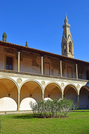 courtyard: internal courtyard of basilica Santa Croce (Basilica of the Holy Cross) in Florence, Tuscany, Italy