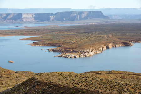 colorado river: landscape of lake Powell, reservoir on the straddling the border between Utah and Arizona, Colorado River, USA Stock Photo