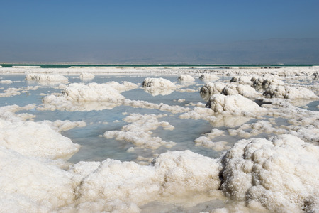 the deposits: deposits of mineral salts, typical landscape of the Dead Sea, Israel