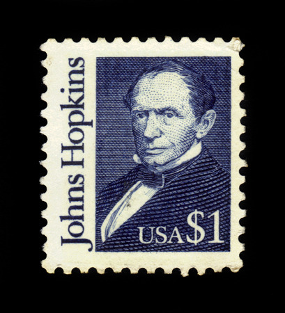 abolitionist: USA - CIRCA 1989: A stamp printed in USA shows Johns Hopkins, american entrepreneur, abolitionist and philanthropist, circa 1989