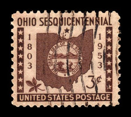buckeye: USA - CIRCA 1953: A stamp printed in USA shows Ohio Map, State Seal, Buckeye Leaf, Ohio Statehood 150th Anniversary, circa 1953 Editorial