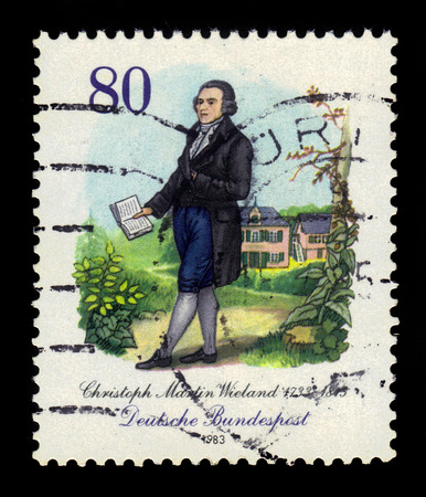 famous people: GERMANY - CIRCA 1983: a stamp printed in the Germany shows Christoph Martin Wieland (1733-1813), poet, circa 1983 Editorial