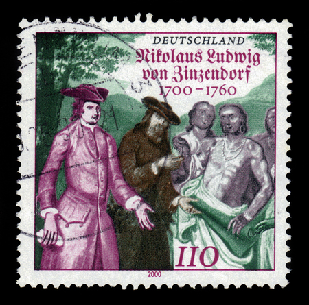 reformer: GERMANY - CIRCA 2000: a stamp printed in the Germany shows Nikolaus Ludwig Graf von Zinzendorf, german religious and social reformer and bishop of the Moravian Church, circa 2000