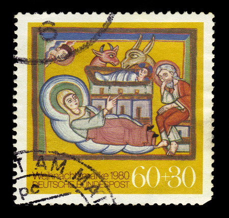 engraver: GERMANY - CIRCA 1980: a stamp printed in Germany shows christmas by Albrecht Altdorfer, german painter and engraver, circa 1980 Editorial