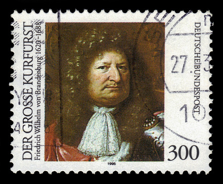 elector: GERMANY - CIRCA 1995: a stamp printed in Germany shows portrait Great Elector Frederick William of Brandenburg, circa 1995 Editorial