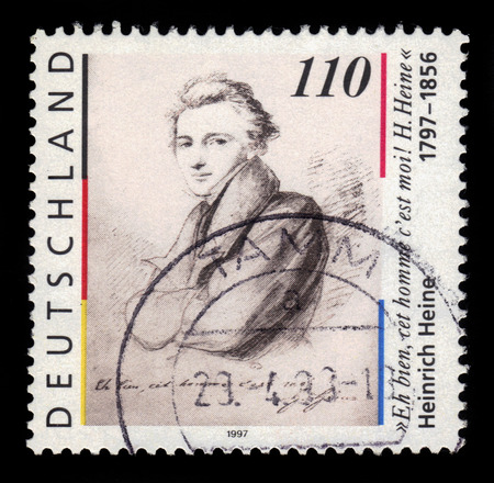 heinrich: GERMANY - CIRCA 1997: a stamp printed in Germany shows portrait Heinrich Heine (1797-1856) german poet, journalist, essayist, circa 1997 Editorial