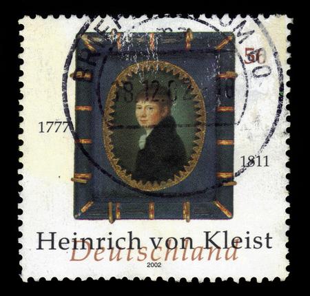 dramatist: GERMANY - CIRCA 2002: a stamp printed in Germany shows portrait Heinrich Von Kleist german poet, dramatist, novelist and short story writer, circa 2002 Editorial