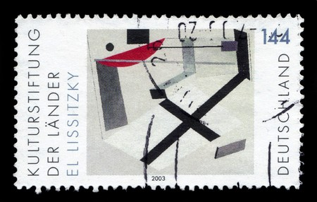 printmaker: GERMANY - CIRCA 2003: a stamp printed in Germany shows Proun Room, painting by El Lissitzki, russian artist and printmaker, circa 2003 Editorial