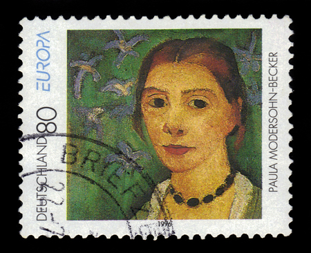 expressionism: GERMANY - CIRCA 1996: a stamp printed in Germany shows self-portrait by Paula Modersohn-Becker, german painter and one of the most important representatives of early expressionism, circa 1996