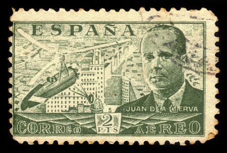 ingeniera civil: SPAIN - CIRCA 1939: A stamp printed by Spain, shows Juan de la Cierva and Autogiro, was a Spanish civil engineer, pilot and aeronautical engineer, green, circa 1939