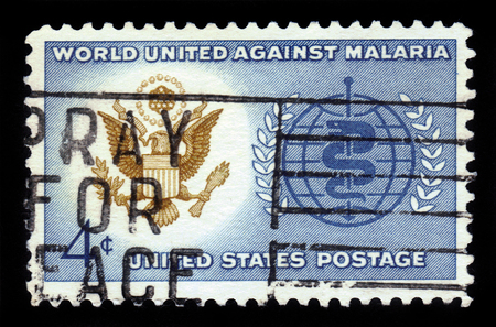 malaria: USA - CIRCA 1962: a stamp printed in USA shows Great Seal of US and WHO Symbol with the inscription World united against malaria, series Malaria Eradication, circa 1962 Editorial