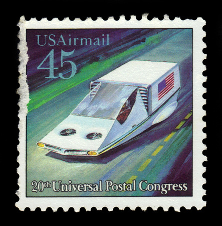 upu: USA - CIRCA 1989: a stamp printed in USA shows air-suspended Hover Car, future mail transportation, 20th Universal Postal Union Congress, circa 1989 Editorial