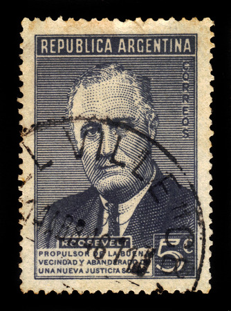 delano: ARGENTINA - CIRCA 1946: a stamp printed in the Argentina shows Franklin Delano Roosevelt, 32nd President of the United States, circa 1946