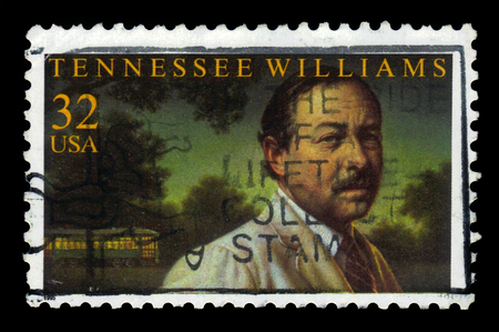 playwright: USA - CIRCA 1995: A stamp printed in USA shows Tennessee Williams, american playwright, circa 1995