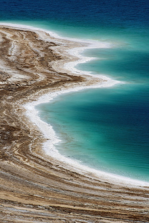 illustrating: landscape of the Dead Sea, failures of the soil, illustrating an environmental catastrophe on the Dead Sea, Israel Stock Photo