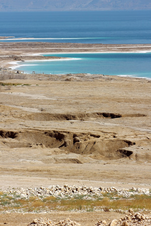 catastrophe: landscape of the Dead Sea, failures of the soil, illustrating an environmental catastrophe on the Dead Sea, Israel Stock Photo