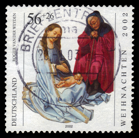 netherlandish: GERMANY - CIRCA 2002: a stamp printed in the Germany shows Holy Family, painting by Rogier van der Weyden, circa 2002 Editorial