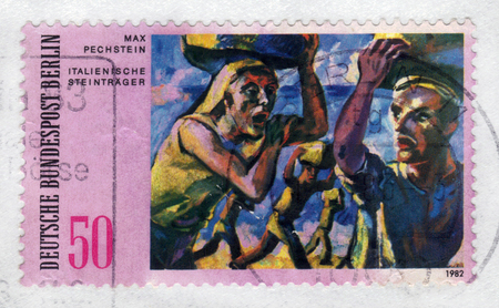 expressionist: GERMANY - CIRCA 1982: a stamp printed in the Germany shows italian stone carrier, painting by Max Pechstein, german expressionist, circa 1982; Editorial