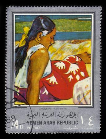 tahitian: Yemen - CIRCA 1968: stamp printed in Yemen Arab Republic, shows painting by Paul Gauguin, Tahitian Women, circa 1968 Editorial