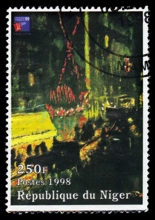 moulin: Republic of Niger - CIRCA 1998 A stamp printed in Republic of Niger shows a painting by Pierre Bonnard, effect of night, the Moulin Rouge also known as leaving the Moulin Rouge, circa 1998 Editorial