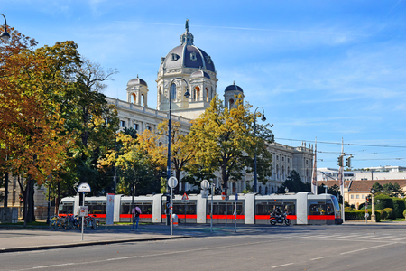 habsburg: Vienna, Austria- 30 August, 2015: urban landscape with a tram and Museum of Natural History (Naturhistorisches Museum) in Vienna on 30 August in Vienna, Austria opened in 1889, was built for collections of natural exhibits Habsburg