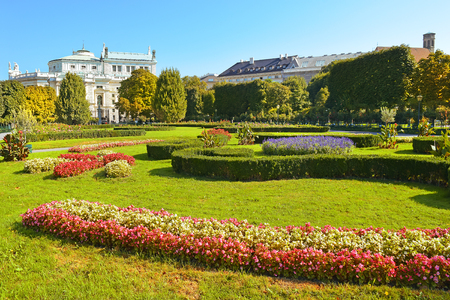 innere: Peoples Garden (Volksgarten, 1821) - public park in Inner Stadt Vienna, Austria. Garden is part of Hofburg Palace, was laid out by Ludwig Remy Editorial