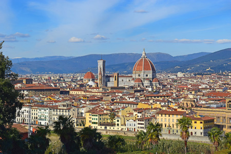 michelangelo: panoramic view of old Florence from Piazzale Michelangelo, Tuscany, Italy