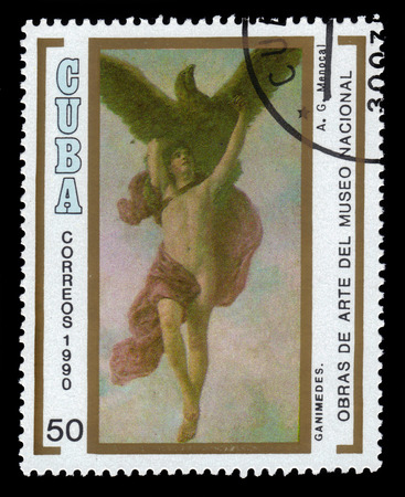 abduction: CUBA - CIRCA 1990: a stamp printed in Cuba shows The Abduction of Ganymede by Armando Menocal, National Museum, Havana, circa 1990 Editorial