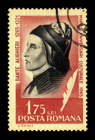 dante alighieri: ROMANIA - CIRCA 1965: a stamp printed in the Romania shows Dante Alighieri, italian poet, most famous for his Divine Comedy, circa 1965 Editorial