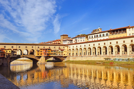 arno: view of embankment of the river Arno, Florence, Tuscany, Italy