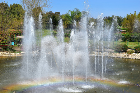 sharon: singing fountain in Utopia Orchid Park - biological garden, Sharon region, Israel