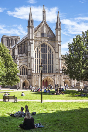 Winchester, Hampshire, England - August 02, 2015: west facade of Winchester Cathedral on August 02, 2015 Winchester, Hampshire, England Editorial