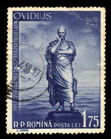 naso: ROMANIA - CIRCA 1957: A stamp printed in Romania shows portrait of Publius Ovidius Naso, roman poet, circa 1957