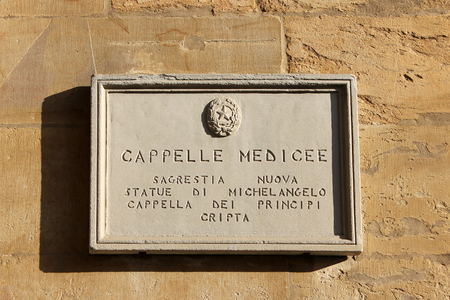 medici: Medici Chapels (Cappelle medicee), street plate on a wall of the Basilica of San Lorenzo in Florence, region of Tuscany, Italy Stock Photo