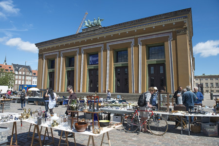 COPENHAGEN, DENMARK - June 26: Flea Market in front of Thorvaldsens museum, Copenhagen, Denmark, on June 26, 2015. Editorial