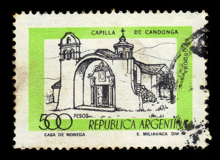 sierras: Argentina - CIRCA 1978: A stamp printed in Argentina shows Chapel Candonga in the Sierras Chicas of the Province of Cordoba, Argentina, series, circa 1978