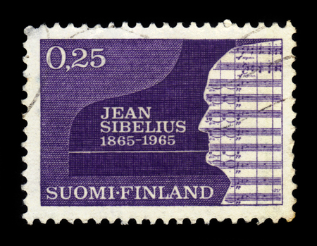 sibelius: FINLAND - CIRCA 1965: a stamp printed in Finland shows silhouette of Sibelius, Jean (1865-1957), composer, 100th birth day, circa 1965