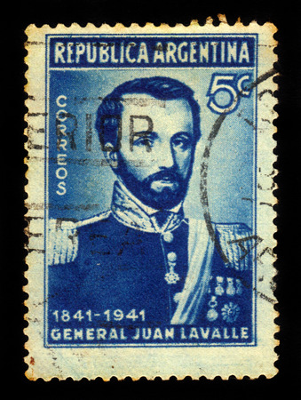 11th: ARGENTINA - CIRCA 1941: a stamp printed in the Argentina shows general Juan Lavalle, 11th governor of Buenos Aires province, circa 1941 Editorial