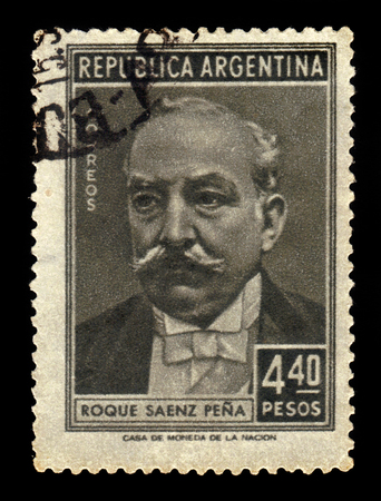 17th: ARGENTINA - CIRCA 1957: a stamp printed in the Argentina shows Roque Saenz Pena, 17th President of Argentina, circa 1957