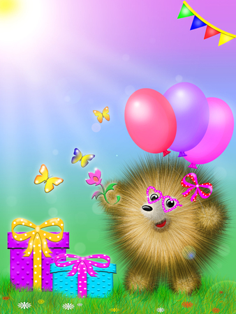 fictional cartoon character, like a hedgehog, standing on the grass with gifts and colored balloons Stock Photo
