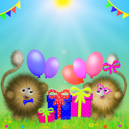 fictional cartoon animals standing on the grass with gifts and colored balloons Stock Photo