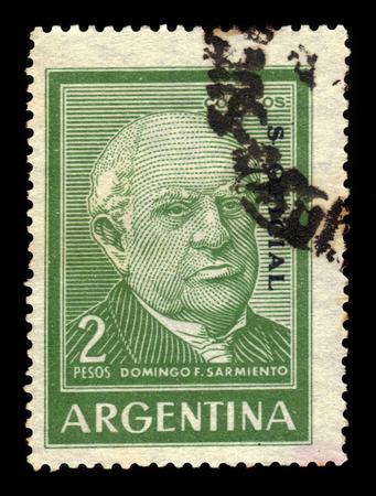 sarmiento: ARGENTINA - CIRCA 1962: a stamp printed in the Argentina shows Domingo F. Sarmiento, seventh President of Argentina, circa 1962